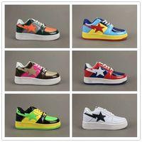 womans shoe großhandel-[Original Box] klassische Restauration Skate Schuhe Fußsoldat BAPESTA Leder gespleißt Sportschuhe Hohe Qualität Mans Womans Schuhe Größe 36-45
