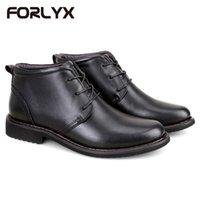 ingrosso scarpe di sicurezza impermeabili-FORLYX Size 38-45 Uomo Snow Boots in vera pelle Uomo Inverno nero Stivaletti Army Work Safety Causali maschi impermeabili