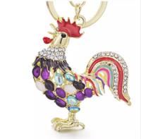 opal kristal halka toptan satış-Beijia Pretty Chic Opals Cock Horoz Tavuk Anahtarlıklar Kristal Çanta Kolye anahtarlık Anahtar zincirleri Hediye Takı Llaveros K131