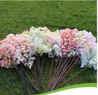 kiraz sola toptan satış-Tek kiraz çiçeği çiçek ağacı yaprakları 3 dalları yapay bitki ağacı prim çeşitli boyutu sakura çiçek ipek taklit sahte çiçek