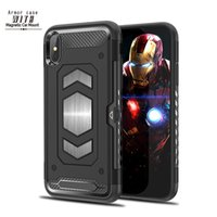 Wholesale car iphone cases red online - Hybrid Armor Cases With Cardslot Car Holder For Note S8 Plus J3 J7 J8 Iphone XR XS MAX S
