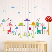 bande dessinée de fond achat en gros de-Enfants Chambre Chambre Arrière-plan Décorer Cartoon Champignon Arbre Girafe Stickers Muraux Beau Paster Cadeau Pour Enfants 4md Ww