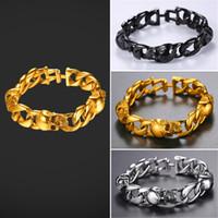 Wholesale chain link inserts - U7 Cross Skeleton Inserted Bracelet For Men 21CM Stainless Steel Gold Plated Christian Jewelry Cross Skull Cool Bracelet For Men