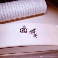 gümüş pırlanta taşlar toptan satış-Otantik 925 Gümüş Küpe Logo hollow kelimeler marka logosu Damızlık Küpe Kadınlar Için uyumlu takı PS6794