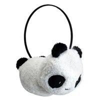kulak sıcak peluş kulaklıklar toptan satış-Kadınlar için kış Earmuffs YENI Sevimli Büyük Kabarık Kürk Peluş Panda Earmuffs Kış Kulak Isıtıcı Bayanlar Kadın Kızlar