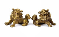 perro chino estatua de león al por mayor-Lucky Chinese Fengshui Pure Brass Guardian Foo Fu Dog Lion Estatua Par
