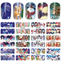 Wholesale new Christmas Snowman Nail Wraps Sticker Tips Manicura Nail Supplies Decal New Water Transfer Sticker Winter Characters CM CM Cute