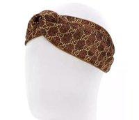 Wholesale Aa Side - AA Designer Elastic Headbands for Women 2018 New Luxury Brand Gold side Cross Turban hairband Streetwear Hair Jewelry Gift.