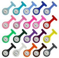 Wholesale Silicone Nurse Brooch Watch - 100PCS LOT Nurse Medical watch Silicone Clip Pocket Watches Fashion Nurse Brooch Fob Tunic Cover Doctor silicone Quartz watch NW026