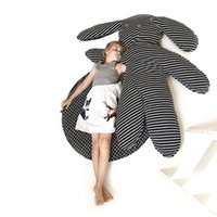Wholesale size play mats - baby play mat big rabbit toy black striped children room decor cotton crawling carpet Size big gray stuffed toy for girls room