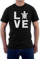 kaplumbağa yenilik hediye toptan satış-Ben Aşk Kaplumbağalar - Hayvan Lover Kaplumbağa Baskı Sevimli T Shirt Yenilik Hediye Fikir Erkekler T Shirt Baskı Pamuk Kısa Kollu T Gömlek