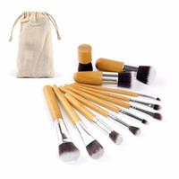 kozmetik berabere toptan satış-Bambu Makyaj Fırçalar makyaj Fırçalar Ile 11 adet Profesyonel Kozmetik Fırça Seti Fiber Saç Beraberlik Dize Çanta Göz Farı Vakfı Gölge Araçları
