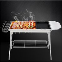Wholesale grill pieces - Camping Grill Portable Folding Charcoal BBQ Grill Stainless Steel Simple Picnic Barbecue Rack Charcoal Picnic Racks KKA5118