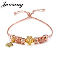 цветы из розового золота оптовых-JUWANG  Women Charm Bracelet & Bangle for Woman Girl Star Pendant Flower Rose Gold Color Charm  Bracelet Party Jewelry