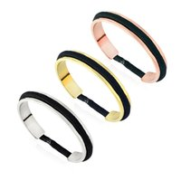 Wholesale hair tie set - hair tie bracelet nickle free in 3 tone with black hair tie fashion new open cuff Bangle bracelet jewelry
