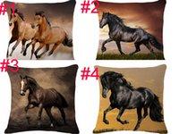 decoração de animais 3d venda por atacado-Moda estilo europeu home decor almofadas almofadas 3D animais cavalo impresso fundas decorativos lance fronha acessórios de moda