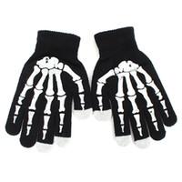 ingrosso guanti ossi-Fashion Style Winter Full Finger Guanti in scheletro lavorato a maglia unisex Ghost Bone Touch Screen