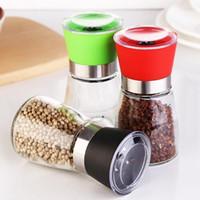 Wholesale Shaker Spices - Salt and Pepper mill grinder Glass Pepper grinder Shaker Spice Salt Container Condiment Jar Holder grinding bottles Kitchen Tools