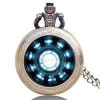 ingrosso tasca steampunk-Vintage Steampunk Pocket Watch Moda Iron Man Movies Extension Tony Stark Iron Man Arc Reactor Jarvis Design Orologio da taschino maschile