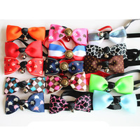 Wholesale large dog bow tie - Multi-color Necktie Collar Dog Bowknot Cat and Dog Pet Accessories Bell.Adjustable Kawaii Dog Cat Pet Bow Tie with Bells