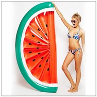 Wholesale wholesale beds mattresses online - 183 cm Giant Inflatable Half Watermelon Floating Row Air Mattresses Watermelon Floating Bed Party Float Inflatable Tubes CCA9344