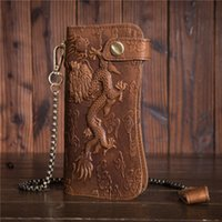Wholesale leather dragon purse for sale - Group buy Antitheft iron chain oil wax leather purse antique wind pressure dragon pattern cowboy wallet fashionable new student B161