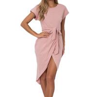 Sexy Split Sashes Sundress Women Asymmetrical Mini Dress Summer Casual  Short Sleeve O-neck Dresses Female Plus Size Robe GV771 4419974438c9