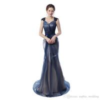 navy sexy bild großhandel-Real Pictures Navy Blue Mermaid Abendkleider 2018 Grau Farbe Vintage Party Kleider Prom Kleider Kostenloser Versand