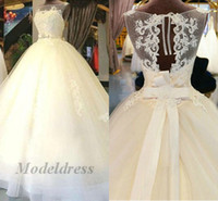 Wholesale model simple ribbon bow for sale - Group buy Romantic Ball Gown Wedding Dresses Ivory Hollow Back Sequins Lace Appliques Ribbon Sashes Elegant Country Wedding Gowns New Arrival