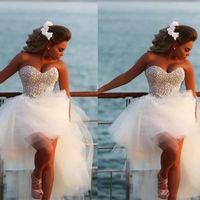 knee length wedding dresses al por mayor-Vestido De Noiva New Unique Pearls Sweetheart Tul blanco corto vestido de novia espalda larga larga longitud de la rodilla vestido de novia