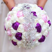 neue rosa rosensträuße großhandel-Kostenloser Versand Brautstrauß Blumen, Neuheiten Romantischer Hochzeitsstrauß aus bunten Rosen Brautstrauß, lila rosa Brautstrauß