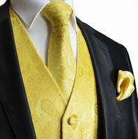 traje de los hombres de chaleco amarillo al por mayor-2018 Seis colores amarillo Paisley chaleco hombres traje chaleco de graduación Slim Fit novio chalecos chaleco de la boda para hombre chaleco de vestir por encargo Chalecos de la boda