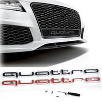audi a4 adesivos venda por atacado-Alta Qualidade Audi Quattro Logotipo Emblema Do Emblema Do Carro ABS 3D Adesivos Frente Grade Inferior Guarnição Para Audi A4 A5 A6 RS5 RS6 RS6 RS7 Q3 Q5 Q7
