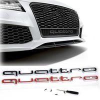vignette audi q5 achat en gros de-Haute Qualité Audi Quattro Logo Emblème Insigne De Voiture ABS 3D Autocollants Garniture Avant Grille Inférieure Pour Audi A4 A5 A6 A7 RS3 RS5 RS6 RS7 Q3 Q5 Q7