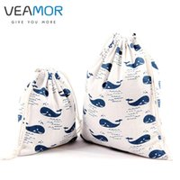 Wholesale Whale Accessories - Wholesale- VEAMOR Candy Gift Bags for Children Cotton Drawstring Bags Whale Printed Small Gift Storage Bags 3pcs set WB287