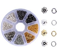 открытие цветов оптовых-Цветочные Бусины Caps Смешанные Подвески Подвески DIY Для Изготовления Ювелирных Изделий И Ремесла Открытые Прыжки Кольца Комплекты G184L