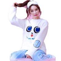 damen pyjama homewear großhandel-Herbst Winter Frauen Pyjamas Oansatz Langarm Cartoon Pyjama Set Home Wear Flanell pj Set Kawaii Nachtanzug Damen Nachtwäsche Anzug