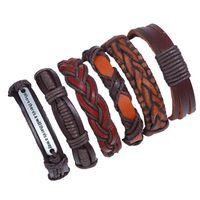 handmade кожаные браслеты рок оптовых-CHAOMO новый ретро многослойный кожаный браслет мужская сочетание наборов украшений ручной веревки персонализированные рок украшения