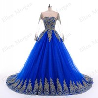 Wholesale Photography Training - Blue Lace Ball Gowns Wedding Dresses for Women Puffy African Black Girls Gold Lace Long Sleeve Puffy Colorful Photography Bridal Gowns 2018