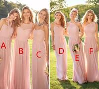 vestido de dama de honor de gasa plisada rosa al por mayor-2019 Barato Rosa Plisado Largo de encaje de gasa vestidos de dama de honor Estilo mixto Blush Dama de honor Formal Honor de mucama volantes Ropa personalizada