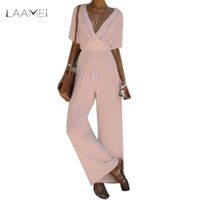 Wholesale Overalls Belt - Laamei 2018 New Summer Wide Leg Jumpsuit Overalls Long Trousers Short Sleeve Tee Top Fashion Women Black Belted Ladies Playsuits