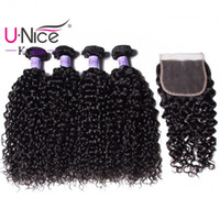 Wholesale human hair kinky curly bulk extensions for sale - UNice Hair Kysiss Virgin Series Brazilian Kinky Curly Hair Bundles With Lace Closure Peruvian Human Hair Extensions Weave Closure Bulk