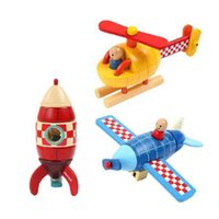 Wholesale Childhood Memories - Arrival Kids toy childhood memory Janod Magnetic Stacking Toys Plane   Helicopter   Rocket by free shipping OTH877