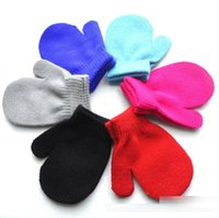 Wholesale Boys Mittens Black - kids gloves knitting warm glove children boys Girls Mittens Unisex Gloves 6 Colors C1718