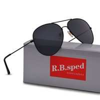 Wholesale Fashion Drivers - New Fashion Pilot Polarized Sunglasses for Men Women metal frame Mirror polaroid Lenses driver Sun Glasses with brown cases and box