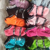 Wholesale Sexy Rugby - Pink Letter Socks Love Pink Anklet Sports Fashion UA Brand Ankle Skateboard Sneaker Socks Women Girl Sexy Cheerleaders Ship Boat Short Sock