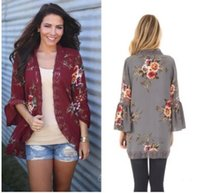 Wholesale Floral Print Chiffon Jacket - 2018 spring and summer Europe and the United States sexy fashion hollow lace stitching printed cardigan jacket trumpet sleeve jacket women's