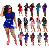 Wholesale tiered clothing - Women PINK letetr tracksuits Summer 2 piece shorts outfit designer Tracksuit t-shirt + rips Shorts Sportswear plus size women sports clothes