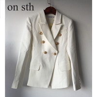 ingrosso stella nero-2018 New Women Goods Star Coat in metallo testa di leone pulsante doppio petto piccolo vestito alla moda temperamento cucitura nero