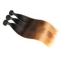 peruanischen haar maschineneinschlagfaden großhandel-Ombre Hair Bundles Peruanische Gerade Haarwebart 3 Bundles 10-30 Zoll Remy Hair Machine Double Weft